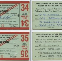 Image of front and back: two 1966 Erie Lackawanna weekly commutation tickets
