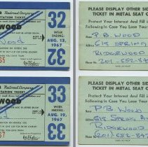 Image of front and back: two 1967 Erie Lackawanna weekly commutation tickets