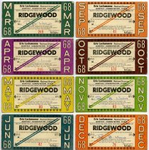 Image of eight 1968 Erie Lackawanna monthly commutation tickets