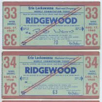 Image of front: three 1968 Erie Lackawanna weekly commutation tickets