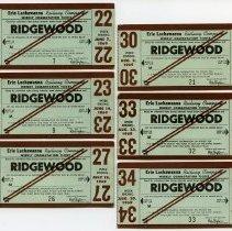 Image of six 1969 Erie Lackawanna Railway weekly commutation tickets