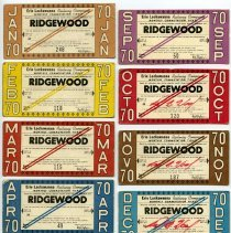 Image of nine 1970 Erie Lackawanna Railway monthly commuter tickets