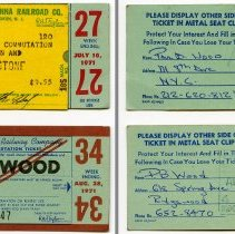 Image of front and back: two 1971 EL weekly commutation tickets