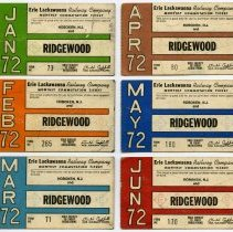 Image of six 1972 Erie Lackawanna Railway monthly commutation tickets