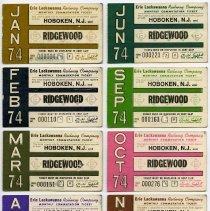 Image of ten 1974 Erie Lackawanna Railway monthly commutation tickets