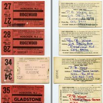 Image of front & back: four 1974 Erie Lackawanna Railway weekly commutation tickets