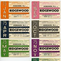 Image of Tickets, transportation, 7: Erie Lackawanna Railway Co., Monthly Commutation Ticket, between Hoboken & Ridgewood, Jan. to June; Sept. to Dec. 1975.  - Ticket, Transportation