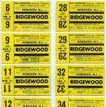 Image of nine 1975 Erie Lackawanna Railway weekly commutation tickets