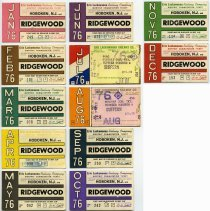 Image of twelve 1976 Erie Lackawanna Railway monthly commutation tickets