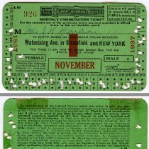 Image of Ticket, transportation: D.L. & W. R.R. monthly commutation, Watessing Ave. or Bloomfield to N.Y., Nov. 1937. - Ticket, Transportation