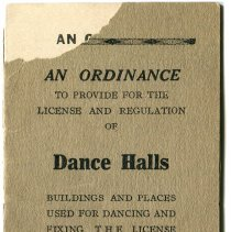 Image of Statute: An Ordinance to Provided for the License & Regulation of Dance Halls; Buildings & Places Used for Dancing & Fixing the License Fee Therefor. Hoboken, March 20, 1928. - Statute