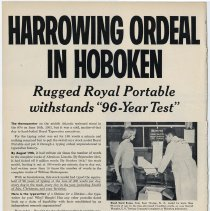 """Image of Ad, magazine (featuring U.S. Testing Co., Hoboken): Harrowing Ordeal in Hoboken. Rugged Royal Portable withstands """"96-Year Test"""". Published 1954. - Ad, Magazine"""