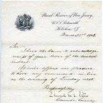 Image of ALS to Mayor Adolph Lankering, Hoboken, from Edward McC. Peters, Commander, Commanding U.S.S. Portsmouth, Hoboken, N.J., March 22, 1905 - Letter
