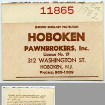 Image of Ticket, pawn: Hoboken Pawnbrokers, Inc., 312 Washington Street, Hoboken, N.J. Circa 1980s. - Ticket