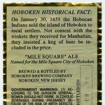 Image of back label; bottled on 09 95