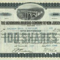 Image of Stock certificate: The Lackawanna Railroad Company of New Jersey; 100 shares of Capital Stock issued to Salomon Bros. & Hutzler, May 1, 1945. - Certificate, Stock