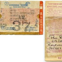 Image of front and back; weekly commutation ticket, week 37, Sept. 1982