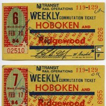 Image of 1984 two NJ Transit weekly commutation tickets