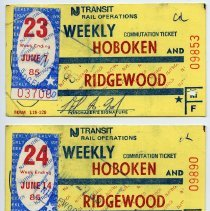 Image of 1985 three NJ Transit weekly commutation tickets