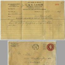 Image of 2: Bill (+ envelope), L. & G. Laikin, 526 Washington St., Oct. 9, 1934