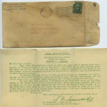 Image of 3: envelope + enclosure1, mimeographed Christmas gift pledge letter