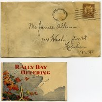 Image of mailing envelope; enclosure - Rally Day Offering envelope