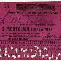 Image of Ticket, transportation: Delaware. Lackawanna & Western R.R.; Monthly Commutation between 3 Montclair & N.Y. Sept.1917. - Ticket, Transportation