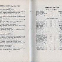 Image of pp 42-43 School Calendar, 1922-1923; Students, 1921-1922