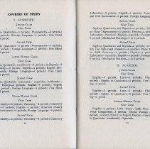 Image of pp 12-13 Courses of Study; I. Scientific; II. Academic