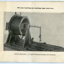 Image of pg [11] photo: Field Magnet. 50 Light Thomson-Houston Arc-Dynamo.