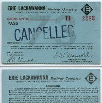 Image of Pass, railroad, blank: Erie Lackawanna Railway Company; 1973, unissued. Inkstamped: CANCELLED. - Pass