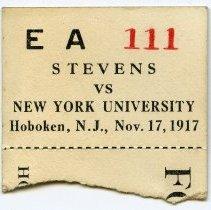 Image of ticket stub Stevens versus New York University, Hoboken, Nov. 17, 1917
