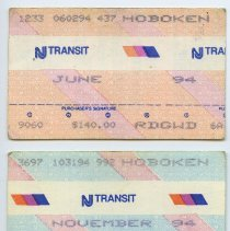 Image of tickets, 2, NJ Transit monthly commutation 1994