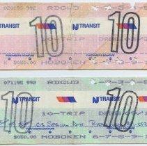 Image of tickets, 2,, NJ Transit 10-trip commutation 1995; Feb (top); July