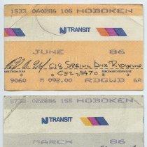 Image of tickets, 4, NJ Transit monthly commutation 1986