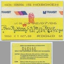 Image of Ticket, transportation: NJ Transit, weekly commutation ticket between Hoboken & Ridgewood; week 6, ending Feb. 7, 1986. - Ticket, Transportation