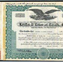 Image of Certificate Number 1 laid in original stock book with stub for No. 1