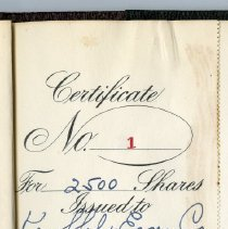 Image of detail stub Certificate No. 1