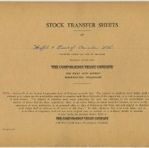 Image of 3: Stock Transfer Sheets; record book Corp. Trust Company: front cover