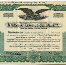 """Image of Stock certificate no. 1 of Keuffel & Esser of Canada, Ltd., for 2500 shares capital stock, par value $100, """"Original Issue""""; issued to Keuffel & Esser Co. (Hoboken, N.J.), Oct. 31, 1951. - Certificate, Stock"""