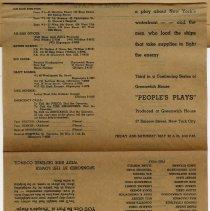 "Image of leaf 8 program foldout side 2, ""People's Plays"", ""Deliver the Goods"""