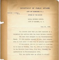 Image of leaf 11 form letter Local Defense Council, June 25, 1942; McFeely