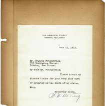 Image of leaf 12 typed note signed B.N. McFeely thanking Fitzpatrick, June 23, 1942