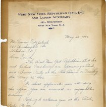 Image of leaf 13 ALS W.N.Y. Republican Club invitation to party, May 22, 1942