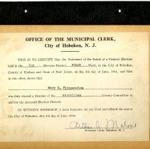 Image of inside back cover: certification of election, to Mary Fitzpatrick, 1946
