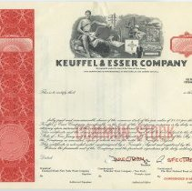 Image of Certificate, specimen stock: Keuffel & Esser Company (Hoboken, N.J.); Less than 100 shares Common Stock, par value $1.00 (1965). - Certificate, Stock