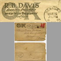 Image of envelope: (split) + enlarged enhanced detail of logo