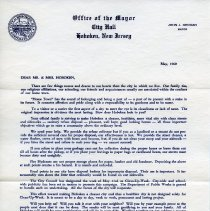 Image of Printed letter to Hoboken residents re designation of the week of May 23rd as Clean-Up-Week, Hoboken, May, 1960. - Announcement