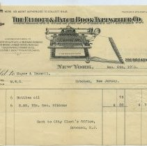 Image of Six invoices or receipts from office equipment companies to City of Hoboken, various departments, 1901-1914. - Invoice