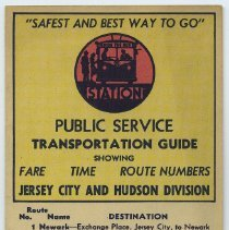 Image of Public Service Transportation Guide, Showing Fare, Time, Route Numbers. Jersey City & Hudson Division. Cpyrt 1938 P.S.C.T. - Brochure